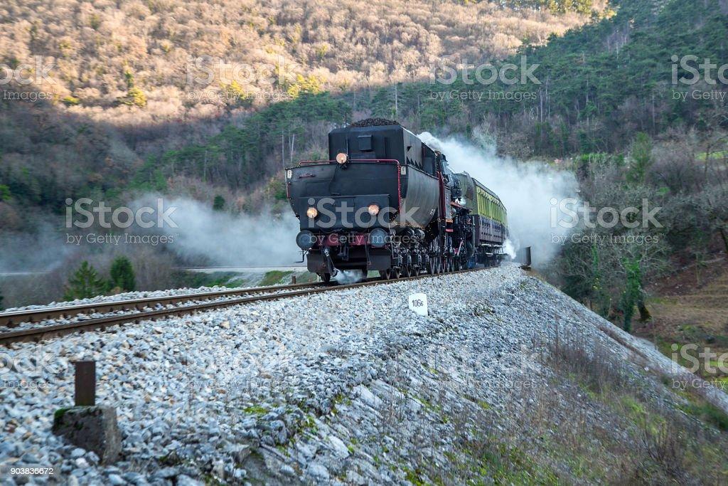 Old Steam train - locomotive on the Railway Station at Branik, Slovenia stock photo