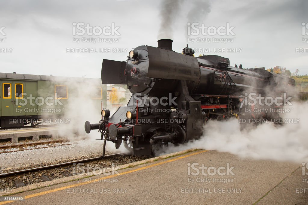 Old Steam Train on Railway Station of Nova Gorica, Slovenia stock photo