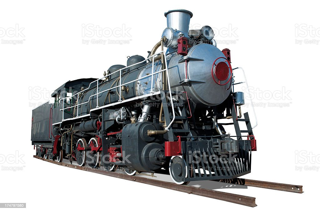 Old steam train on tracks in white background stock photo