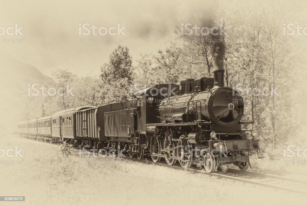Alten Zug mit Dampflokomotive  - Lizenzfrei Alt Stock-Foto