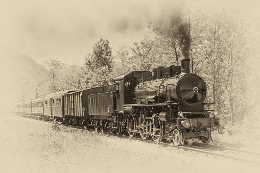 Alten Zug Mit Dampflokomotive Stockfoto und mehr Bilder von Alt