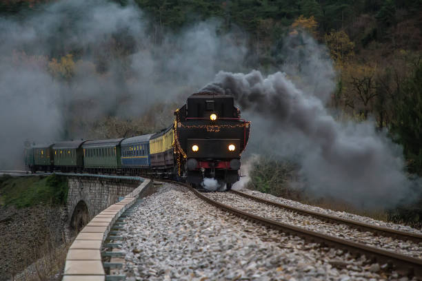 Old Steam train - steam locomotive stock photo