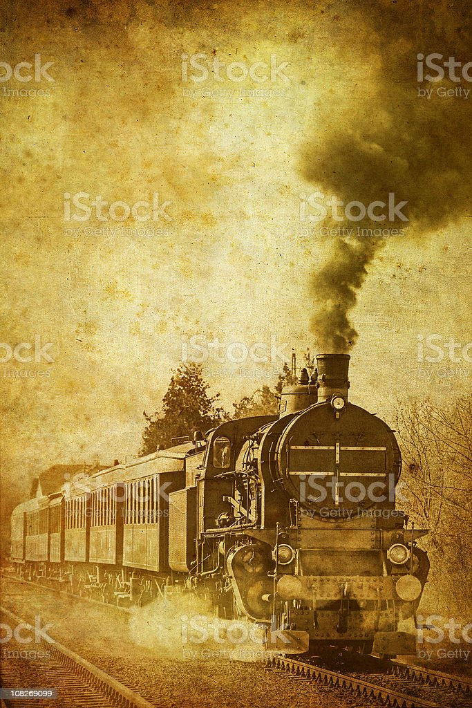 old steam train - vintage photo royalty-free stock photo