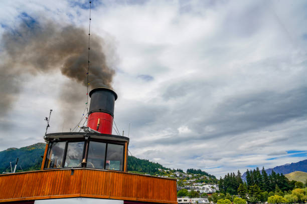 Old Steamer Earnslaw at Main Town Pier, Lake Wakatipu, Queenstown, New Zealand stock photo