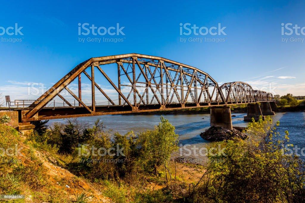 Old Steel Beam Railroad Bridge stock photo