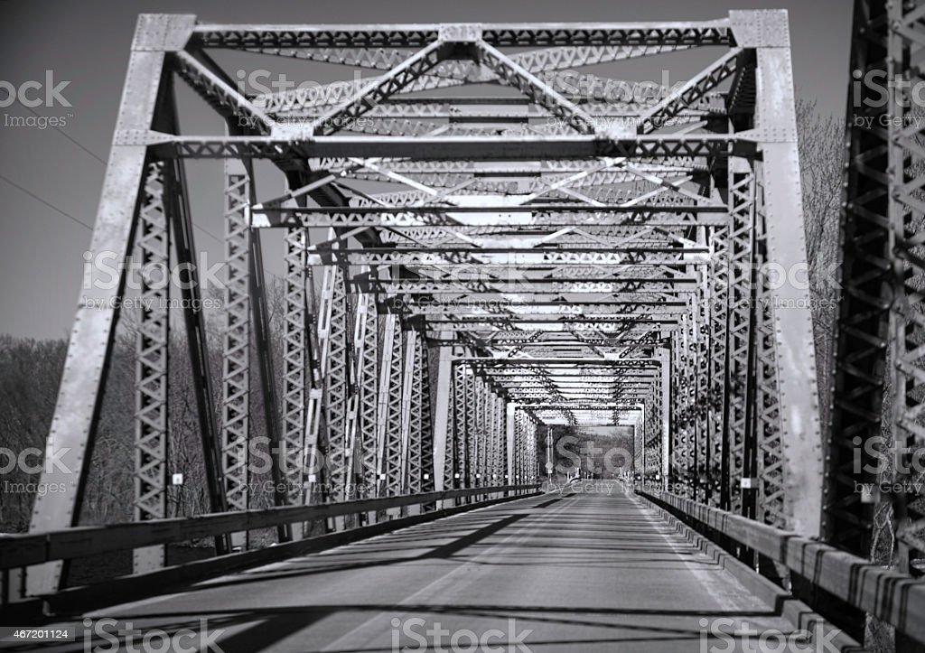 Old Steel Bridge over Wisconsin River stock photo
