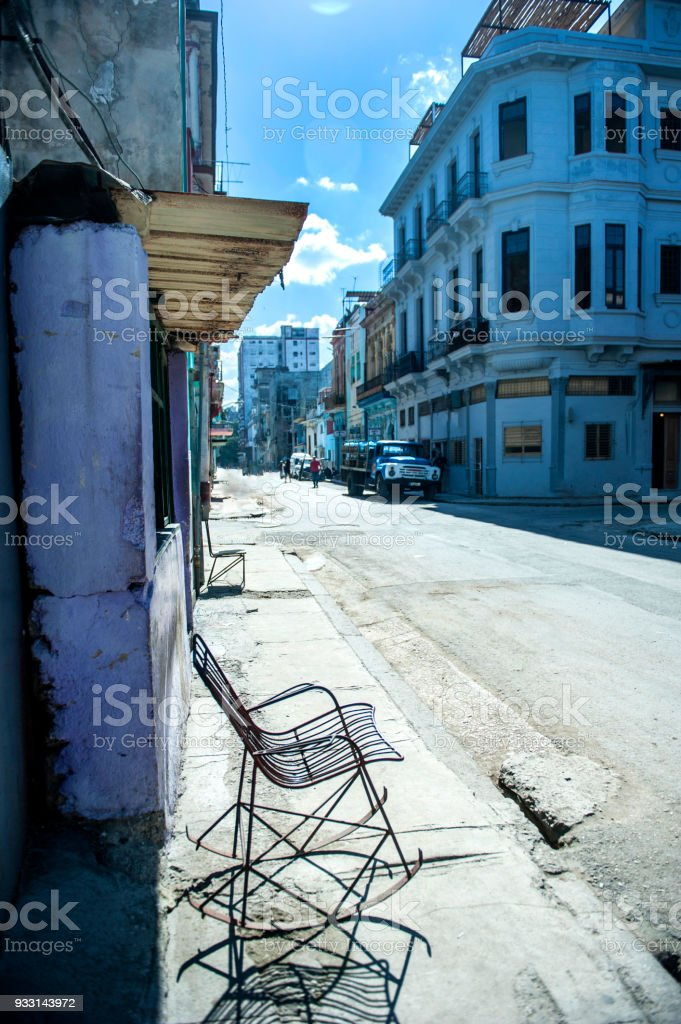 Phenomenal Old Steel Framed Rocking Chair In The Street Havana Cuba Forskolin Free Trial Chair Design Images Forskolin Free Trialorg