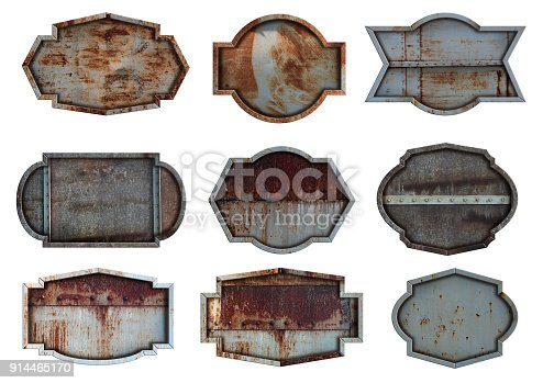 istock Old steel metal sign plate texture background isolated on white 914465170