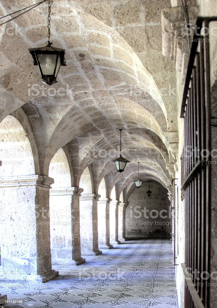 Old stone archway and corridor in Arequipa royalty-free stock photo