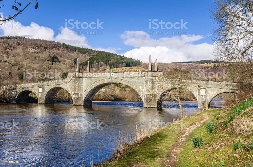 Old Stone Bridge and Clear Sky in the Scottish Highlands stock photo
