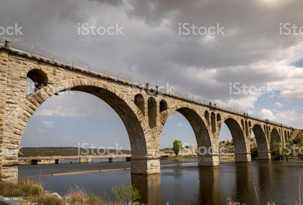 Old stone bridge for railroad zbiór zdjęć royalty-free