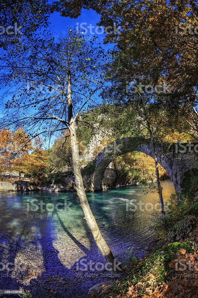 Old stone bridge in northern Greece stock photo