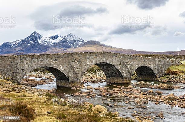 Photo of Old Stone Bridge in Scontalnd and Cloudy Sky