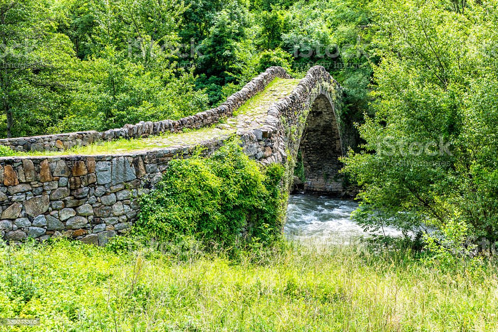 Old Stone bridge  in summer - Pyrenees. royalty-free stock photo