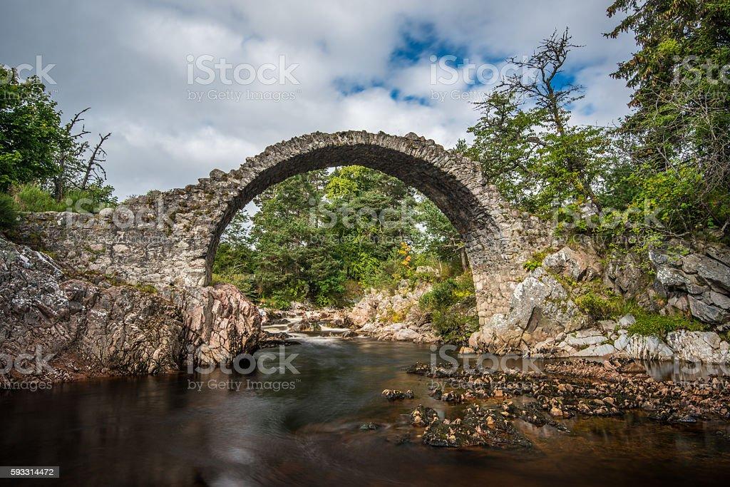Old stone bridge in the village of Carrbridge stock photo