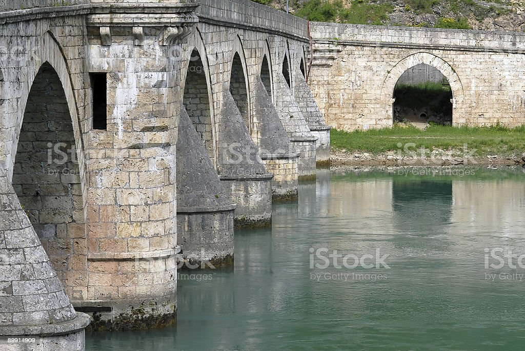 Old stone bridge in Visegrad royalty-free stock photo