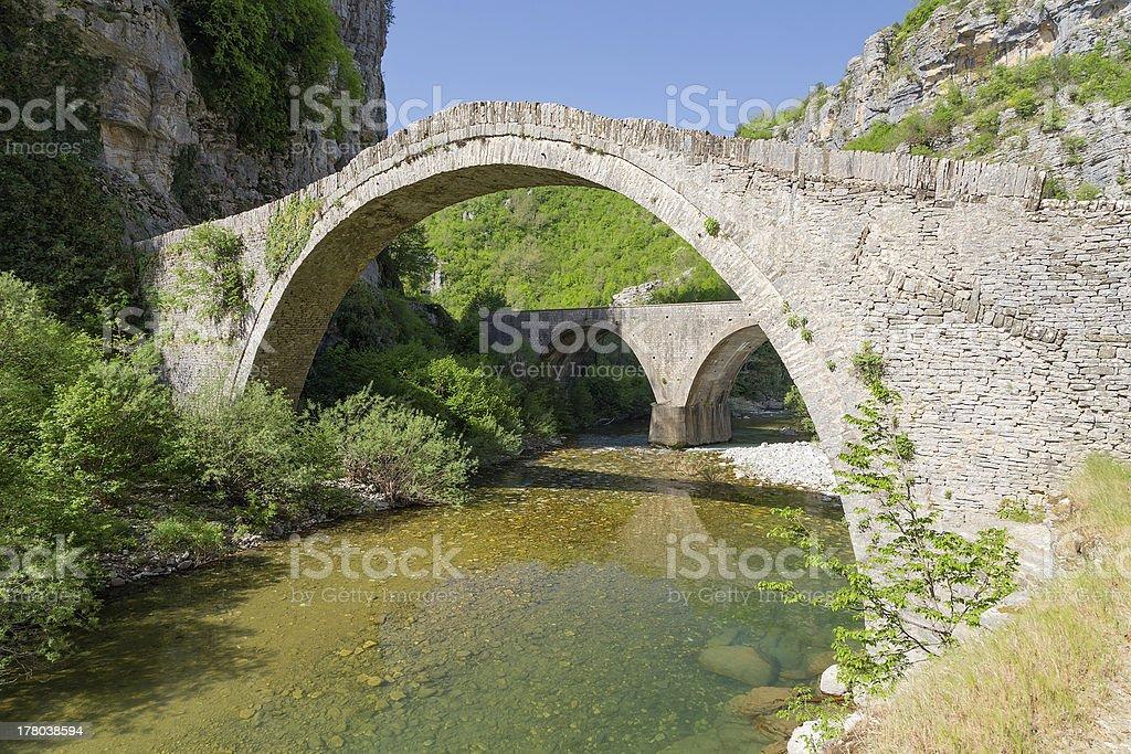 Old stone bridge of Noutsos (built 1750 AD), Epirus, Greece stock photo