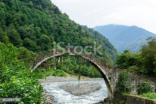 istock Old stone bridge on the river in Rize, Turkey 902994766