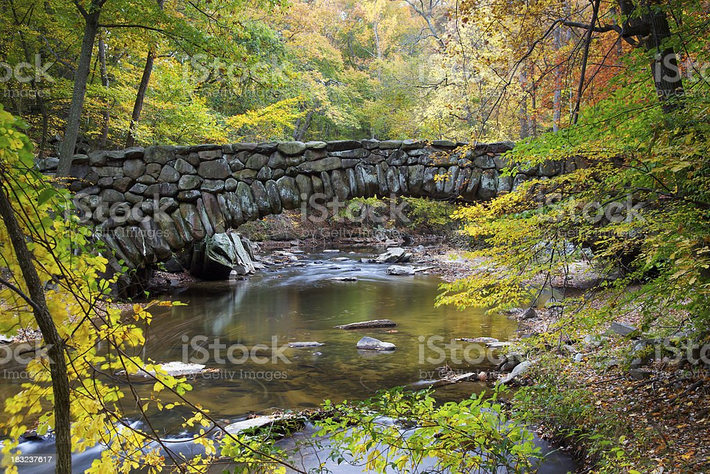 Old Stone Bridge Over Stream stock photo