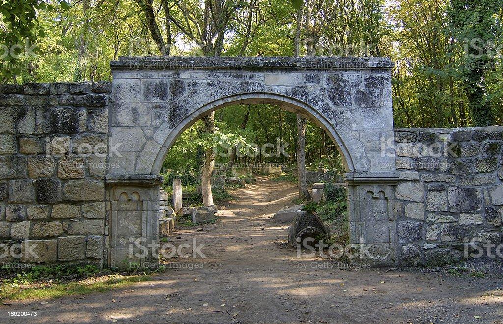 Old stone gates stock photo