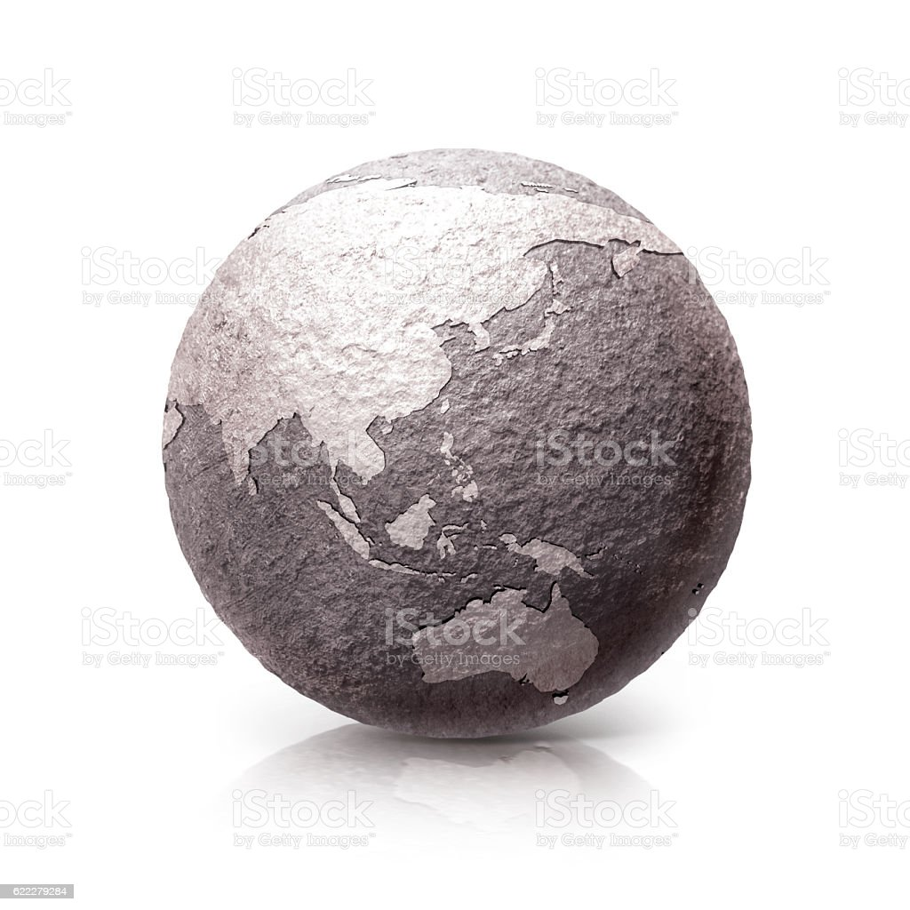 Old Stone globe 3D illustration Asia & Australia map stock photo