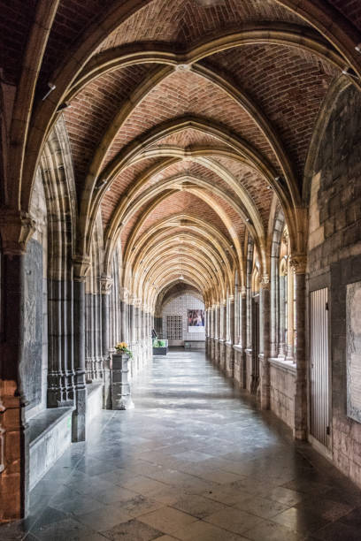 Old stone hallway church brick roof Old stone hallway church brick roof abbey monastery stock pictures, royalty-free photos & images