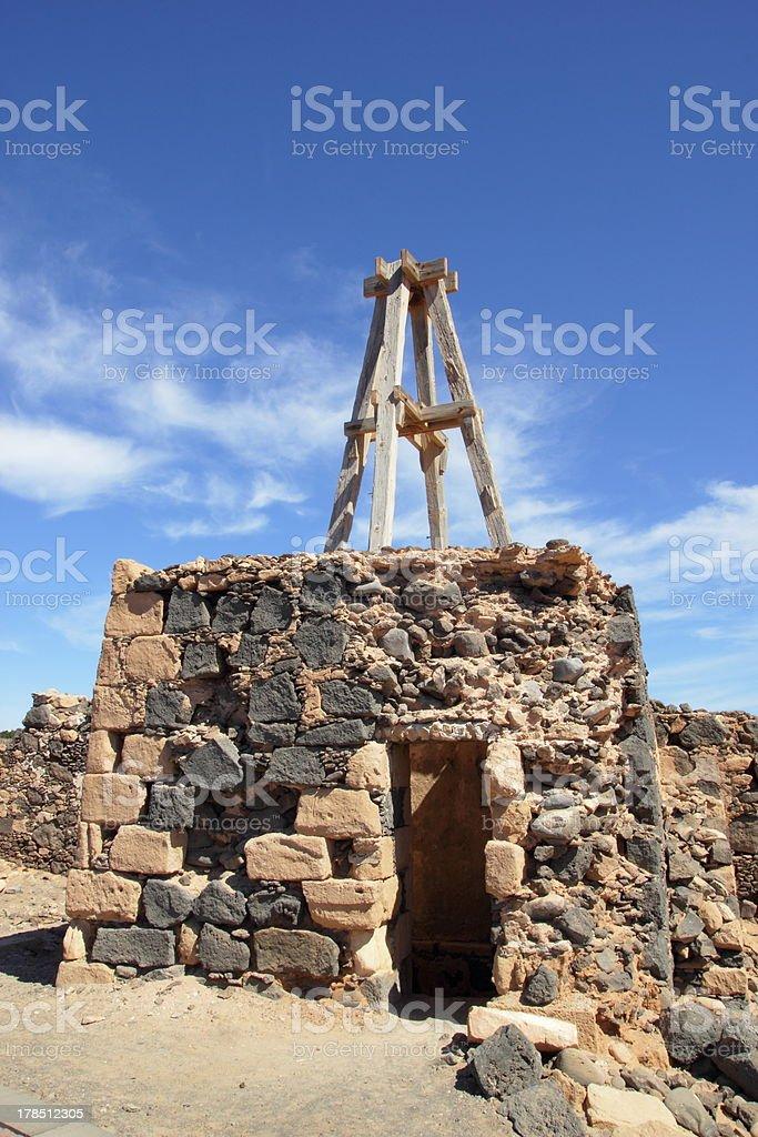 Old stone hut on Lanzarote royalty-free stock photo