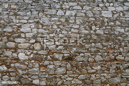 Antique medieval castle or fortress old rough gray and brown rock stone layered wall paving texture background
