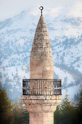 old stone minaret islamic mosque