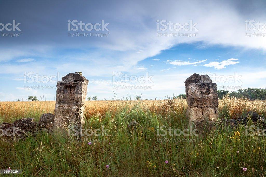 Old Stone Pillars stock photo