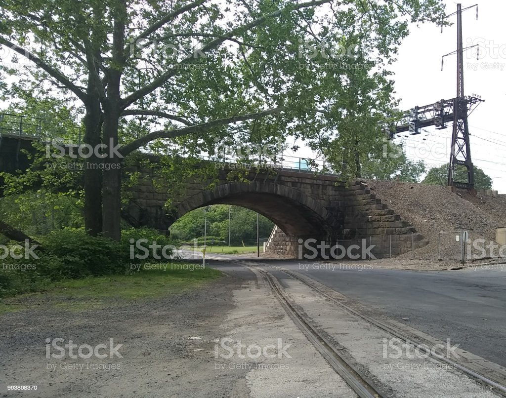 1902 Old Stone Railroad Bridge and Underpass - Royalty-free 1902 Stock Photo