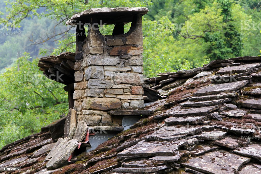 Old stone roof of a house, Etar, Bulgaria stock photo
