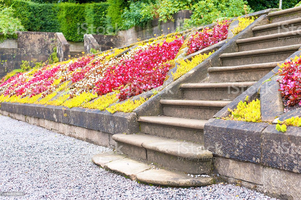 Old stone stairs in Glasgow country Pollok Park blossoming garden stock photo