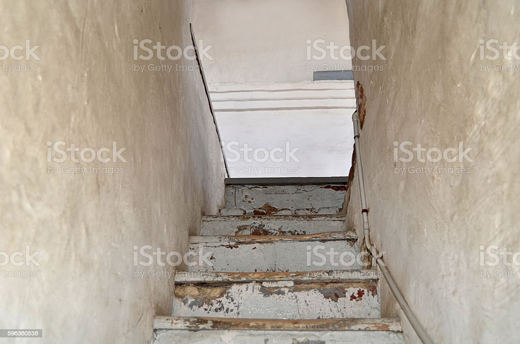 Old stone stairs in the monastery royalty-free stock photo