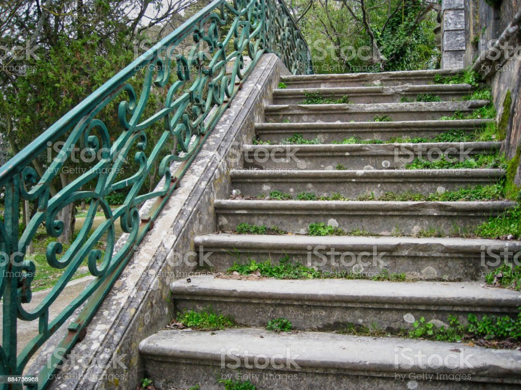 Old Stone Stairs With Wrought Iron Railing Stock Photo Download Image Now Istock