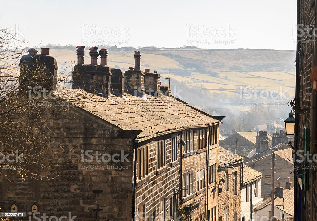 Old stone terrace houses on Haworth High Street stock photo