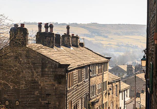 Old stone terrace houses on Haworth High Street stock photo