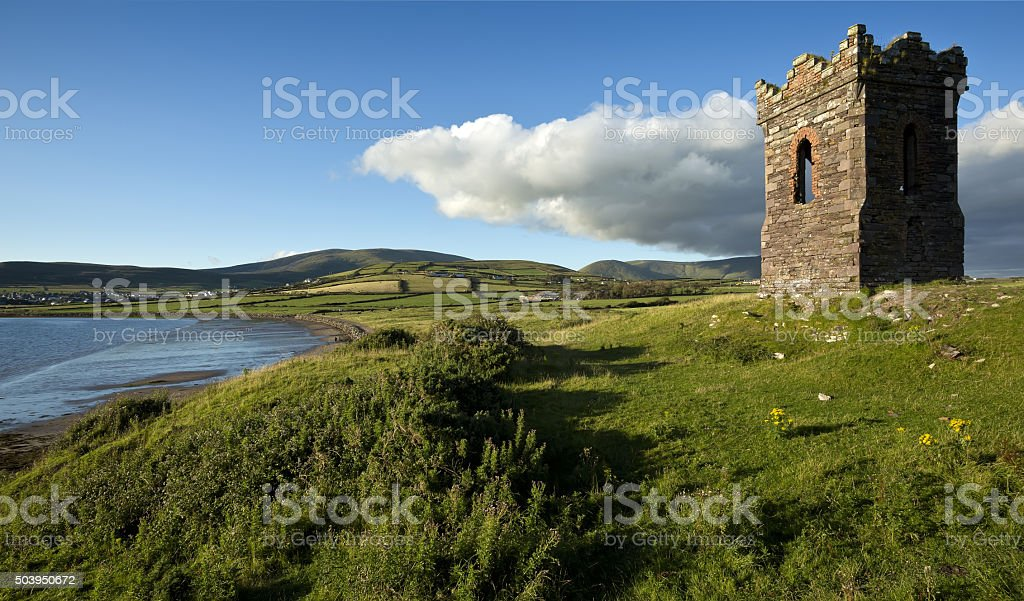 Old stone Watch tower over looking Dingle Bay Co. Kerry stock photo