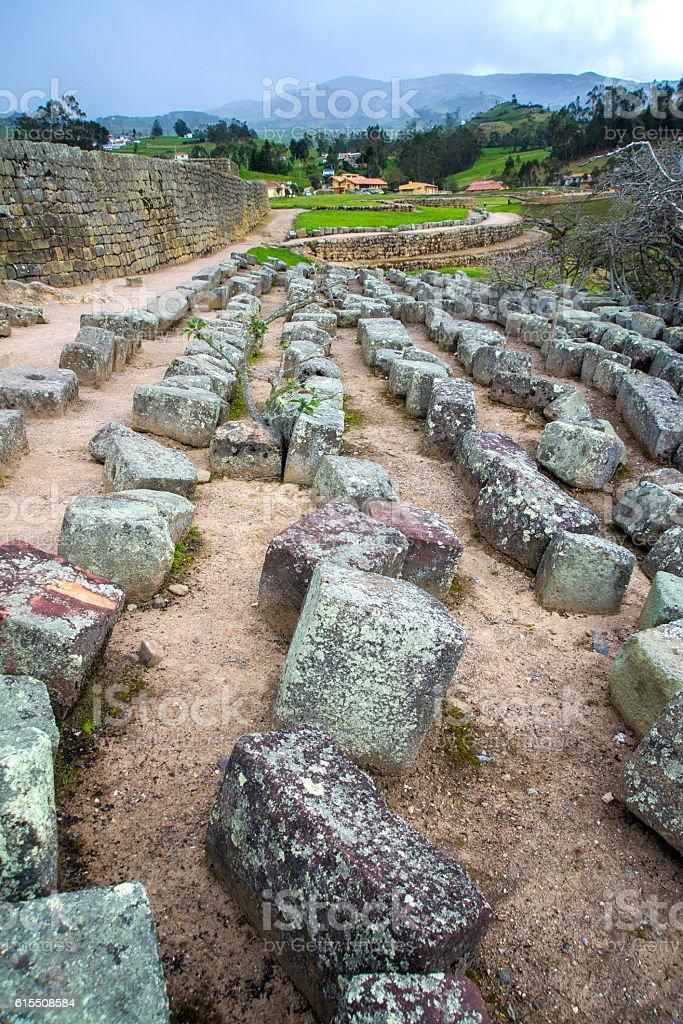 Old stones at Ingapirca ruins stock photo