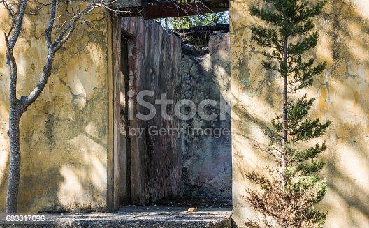 Old stones burned house in oymapınar manavgat nature outdoors horizontal shot.