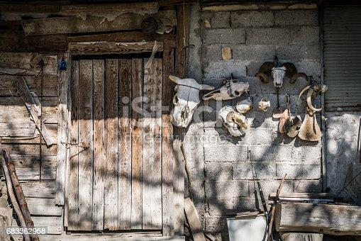 Old Stones village house door with animal head skeletons.
