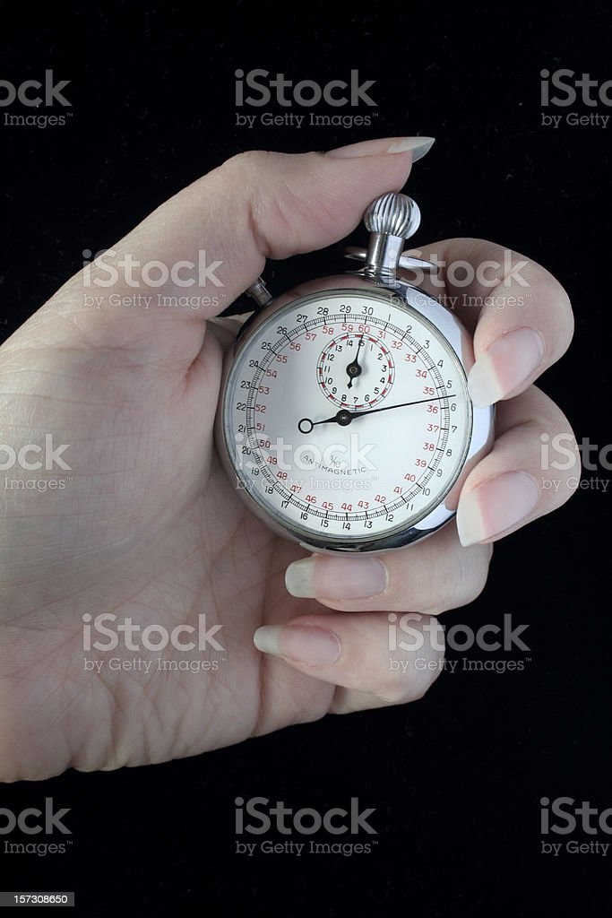 Old Stopwatch In Woman's Hand stock photo