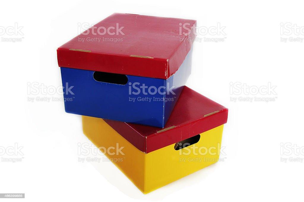 old storage boxes stock photo