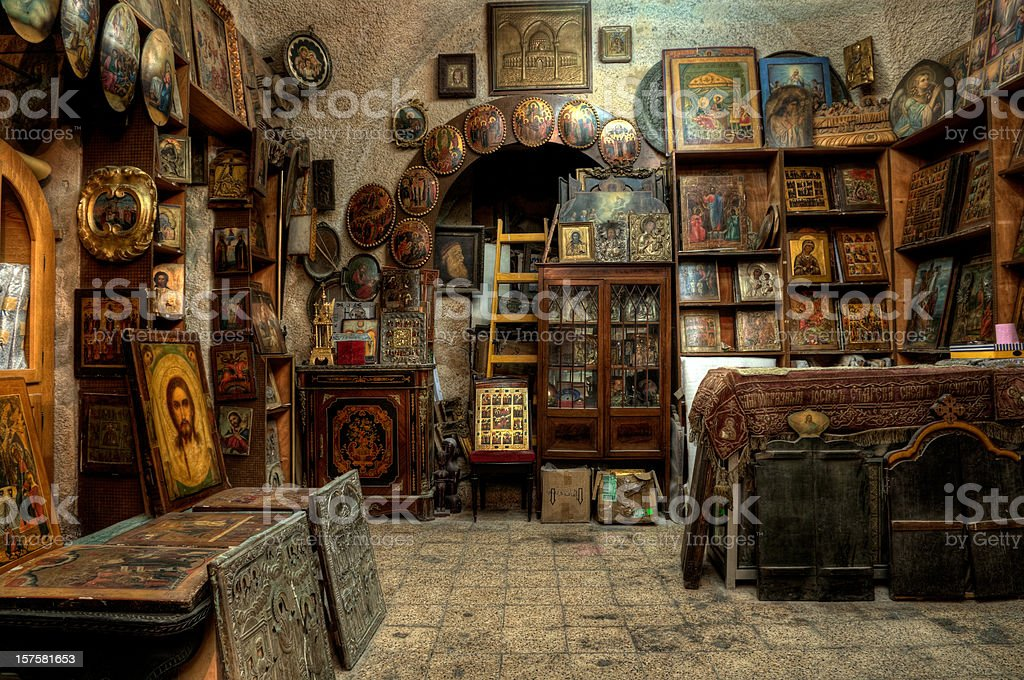 Old store with Russian icons -HDR stock photo