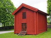 Old storehouse at a swedish churchyard
