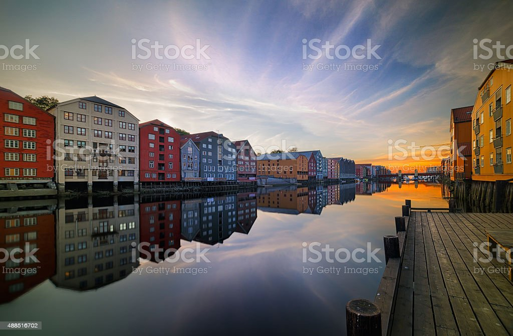 Old storehouses in Trondheim stock photo