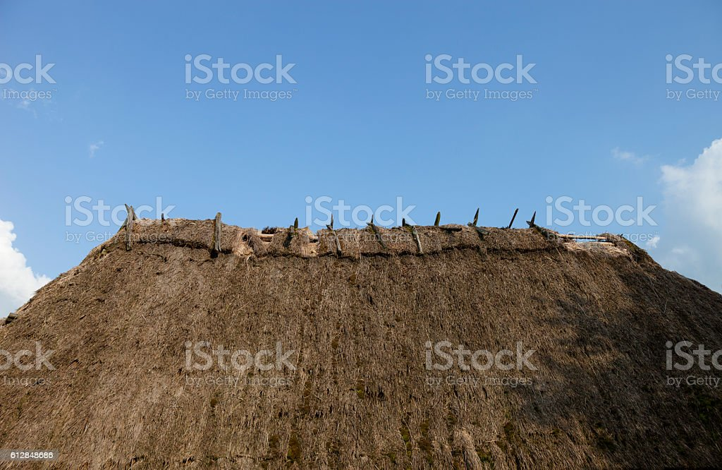 Old straw-thatched roof stock photo
