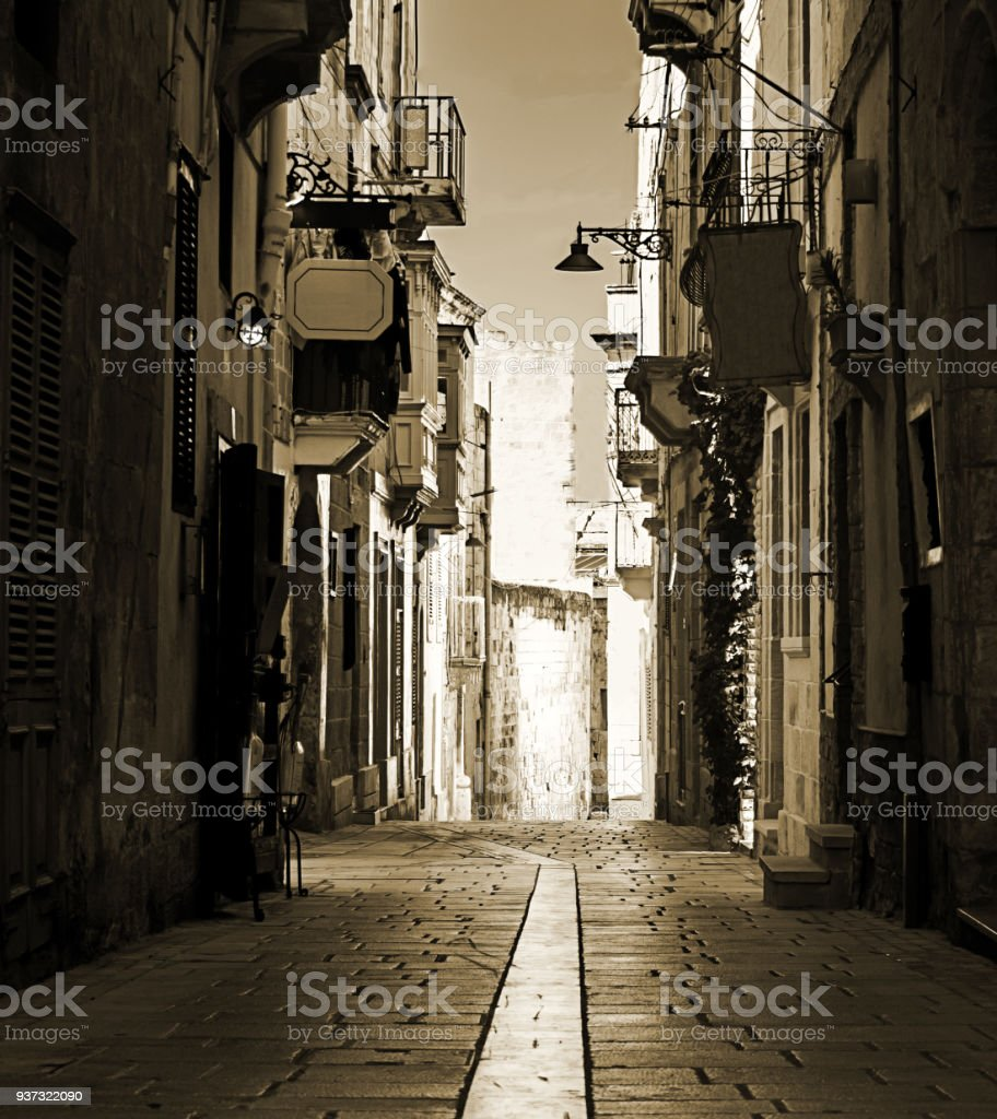 Old Street and Houses in Malta stock photo