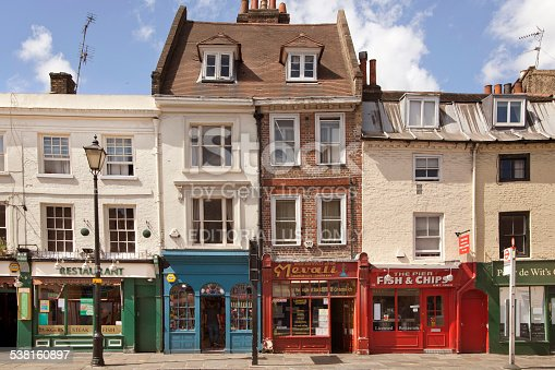 London, UK - June 11, 2014: Old street Greenwich view with small shops