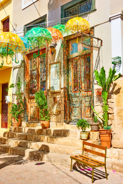 Old street in Aegina town stock photo